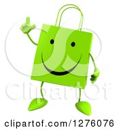 Clipart Of A 3d Green Happy Shopping Or Gift Bag Character Holding Up A Finger Royalty Free Illustration