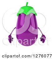 Clipart Of A 3d Aubergine Eggplant Character Royalty Free Illustration