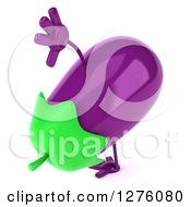 Clipart Of A 3d Aubergine Eggplant Character Cartwheeling 2 Royalty Free Illustration