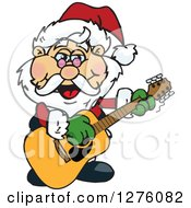 Clipart Of A Happy Santa Claus Playing A Christmas Guitar Royalty Free Vector Illustration