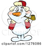 Happy Snowman Smoking A Pipe