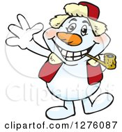 Happy Snowman Smoking A Pipe And Waving