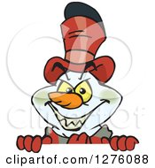 Clipart Of A Grinning Evil Snowman Peeking Over A Sign Royalty Free Vector Illustration