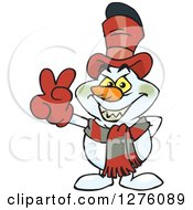 Clipart Of A Grinning Evil Snowman Gesturing Peace Royalty Free Vector Illustration by Dennis Holmes Designs