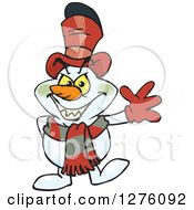 Clipart Of A Grinning Evil Snowman Waving Royalty Free Vector Illustration by Dennis Holmes Designs
