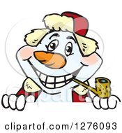 Clipart Of A Happy Snowman Smoking A Pipe And Peeking Over A Sign Royalty Free Vector Illustration by Dennis Holmes Designs