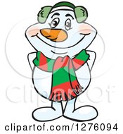 Clipart Of A Happy Snowman In A Scarf And Ear Muffs Royalty Free Vector Illustration by Dennis Holmes Designs