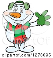 Clipart Of A Friendly Waving Snowman In A Scarf And Ear Muffs Royalty Free Vector Illustration by Dennis Holmes Designs