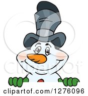 Clipart Of A Happy Snowman Wearing A Top Hat And Peeking Over A Sign Royalty Free Vector Illustration by Dennis Holmes Designs