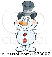 Clipart Of A Happy Snowman Wearing A Top Hat Royalty Free Vector Illustration by Dennis Holmes Designs