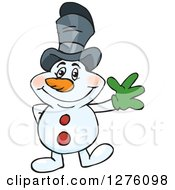 Clipart Of A Friendly Waving Snowman Wearing A Top Hat Royalty Free Vector Illustration by Dennis Holmes Designs