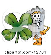 Clipart Picture Of A Garbage Can Mascot Cartoon Character With A Green Four Leaf Clover On St Paddys Or St Patricks Day