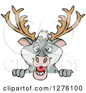 Clipart Of A Happy Reindeer Peeking Over A Sign Royalty Free Vector Illustration by Dennis Holmes Designs