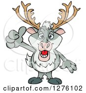 Clipart Of A Happy Reindeer Holding A Thumb Up Royalty Free Vector Illustration by Dennis Holmes Designs