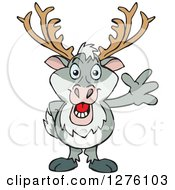 Clipart Of A Happy Reindeer Standing And Waving Royalty Free Vector Illustration by Dennis Holmes Designs