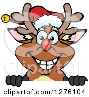 Clipart Of A Happy Rudolph Christmas Reindeer Peeking Over A Sign Royalty Free Vector Illustration by Dennis Holmes Designs