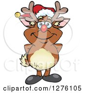 Clipart Of A Happy Rudolph Christmas Reindeer Royalty Free Vector Illustration by Dennis Holmes Designs