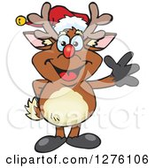 Clipart Of A Happy Rudolph Christmas Reindeer Waving Royalty Free Vector Illustration by Dennis Holmes Designs