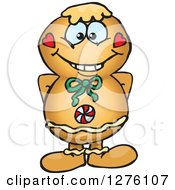 Clipart Of A Happy Gingerbread Man Royalty Free Vector Illustration