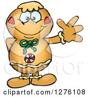 Clipart Of A Happy Gingerbread Man Waving Royalty Free Vector Illustration
