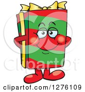Clipart Of A Happy Christmas Gift Character Standing Royalty Free Vector Illustration