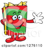 Clipart Of A Happy Christmas Gift Character Waving Royalty Free Vector Illustration by Dennis Holmes Designs