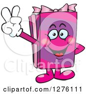 Clipart Of A Happy Pink Gift Character Gesturing Peace Royalty Free Vector Illustration