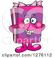 Clipart Of A Happy Pink Gift Character Royalty Free Vector Illustration by Dennis Holmes Designs