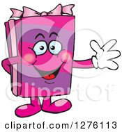 Clipart Of A Happy Pink Gift Character Waving Royalty Free Vector Illustration by Dennis Holmes Designs