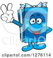 Clipart Of A Happy Blue Gift Character Gesturing Peace Royalty Free Vector Illustration