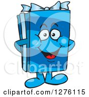 Clipart Of A Happy Blue Gift Character Royalty Free Vector Illustration