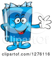 Clipart Of A Happy Blue Gift Character Waving Royalty Free Vector Illustration by Dennis Holmes Designs