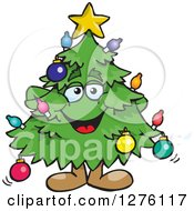 Clipart Of A Happy Christmas Tree Standing Royalty Free Vector Illustration by Dennis Holmes Designs