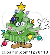 Clipart Of A Happy Christmas Tree Standing And Waving Royalty Free Vector Illustration