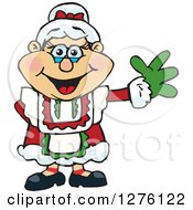 Clipart Of A Happy Mrs Claus Waving Royalty Free Vector Illustration by Dennis Holmes Designs
