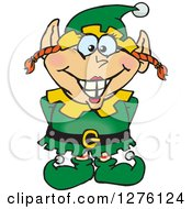 Clipart Of A Happy Female Christmas Elf Royalty Free Vector Illustration
