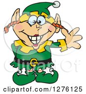 Clipart Of A Happy Female Christmas Elf Waving Royalty Free Vector Illustration