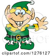 Clipart Of A Happy Male Christmas Elf Waving Royalty Free Vector Illustration