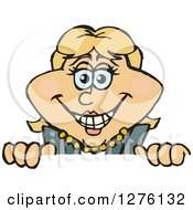 Clipart Of A Happy White Businesswoman Peeking Over A Sign Royalty Free Vector Illustration