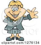 Clipart Of A Happy White Businesswoman Waving Royalty Free Vector Illustration by Dennis Holmes Designs