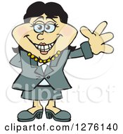 Clipart Of A Happy Asian Businesswoman Waving Royalty Free Vector Illustration by Dennis Holmes Designs