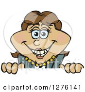 Clipart Of A Happy Hispanic Businesswoman Peeking Over A Sign Royalty Free Vector Illustration