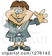 Clipart Of A Happy Hispanic Businesswoman Waving Royalty Free Vector Illustration
