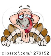 Clipart Of A Happy Turkey Bird Peeking Over A Sign Royalty Free Vector Illustration