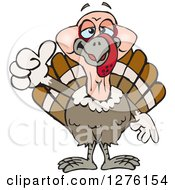 Clipart Of A Happy Turkey Bird Holding A Thumb Up Royalty Free Vector Illustration by Dennis Holmes Designs