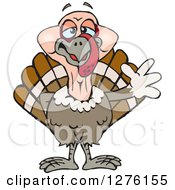 Clipart Of A Happy Turkey Bird Waving Royalty Free Vector Illustration by Dennis Holmes Designs
