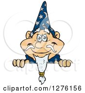 Clipart Of A Happy Wizard Peeking Over A Sign Royalty Free Vector Illustration by Dennis Holmes Designs