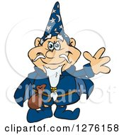 Clipart Of A Happy Wizard Waving Royalty Free Vector Illustration by Dennis Holmes Designs
