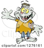 Clipart Of A Zombie Waving Royalty Free Vector Illustration by Dennis Holmes Designs