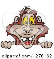Clipart Of A Bigfoot Yowie Peeking Over A Sign Royalty Free Vector Illustration by Dennis Holmes Designs